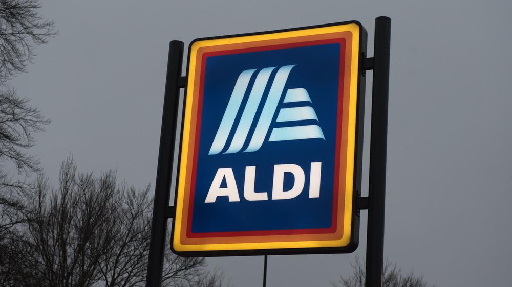 Aldi sign with dark sky