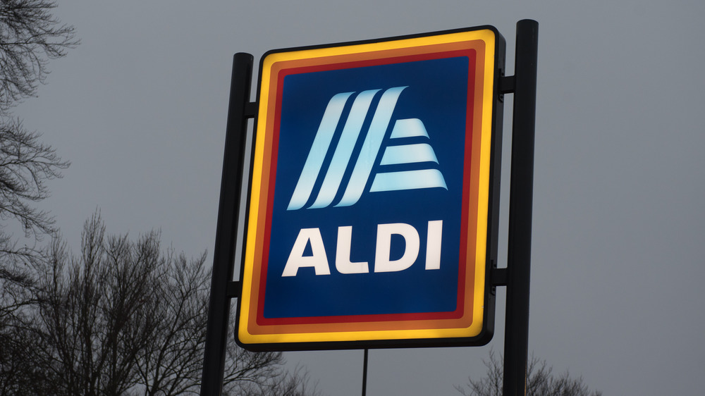 Aldi sign on outside of building
