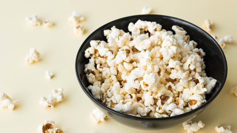 A bowl of plain popcorn