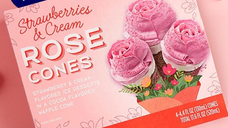 Aldi's Strawberries and Cream Rose ice cream cones