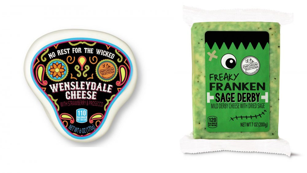 Aldi Emporium Selection Halloween Cheese Assortment No Rest for the Wicked Wensleydale and Freaky Franken Sage Derby