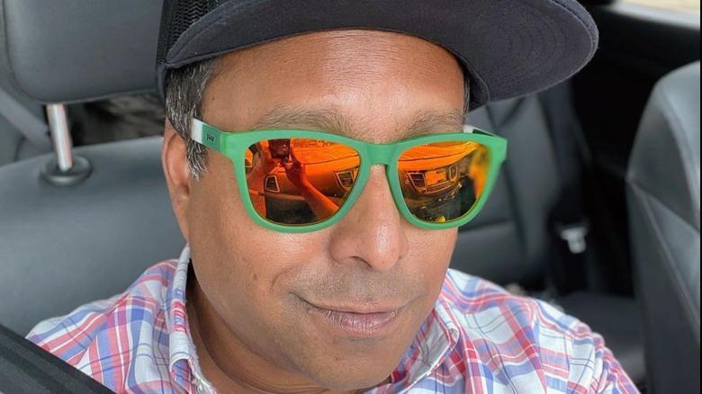 Ali Khan sporting orange sunglasses