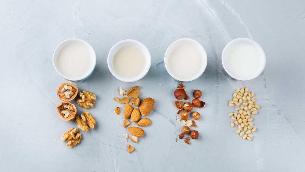 Different types of milk with nuts