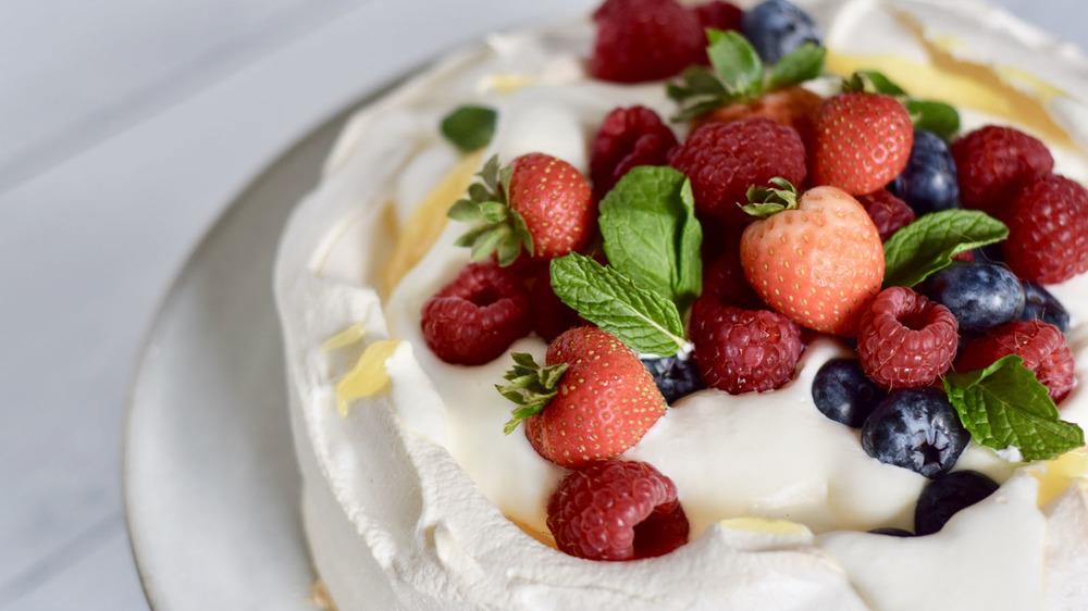 Pavlova with fruit on top