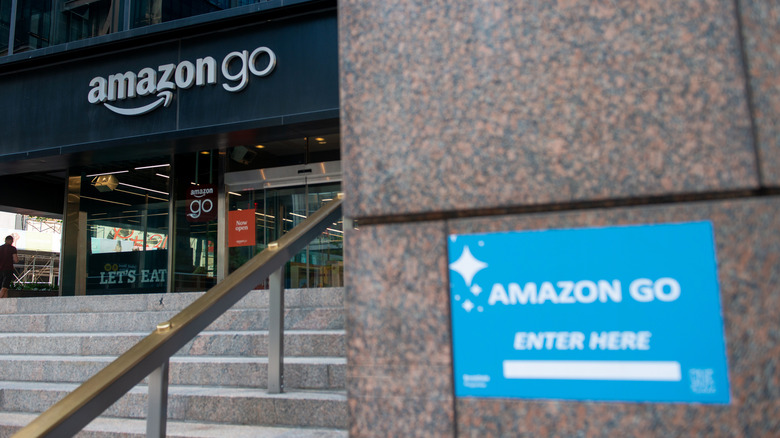 front of an Amazon Go store