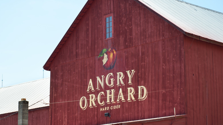 Angry Orchard sign on cidery