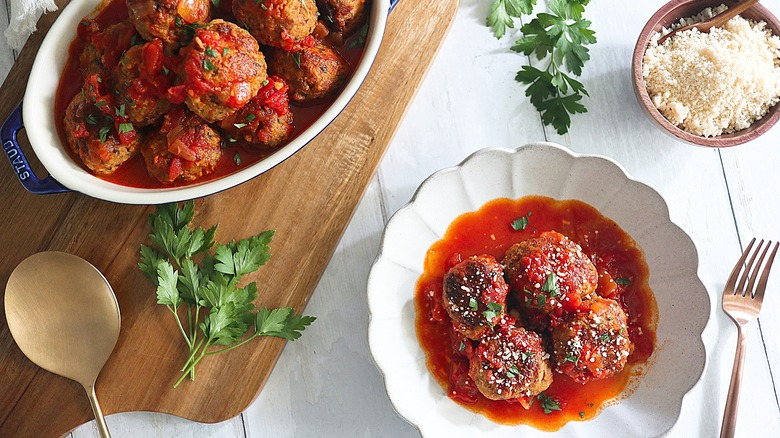 meatballs plated with sauce