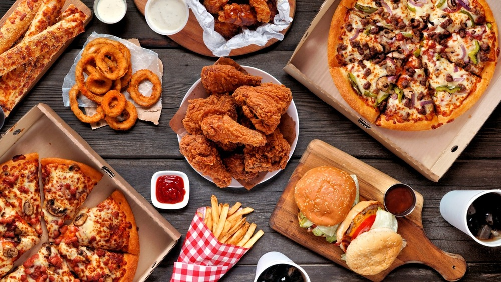 Table of fried American food