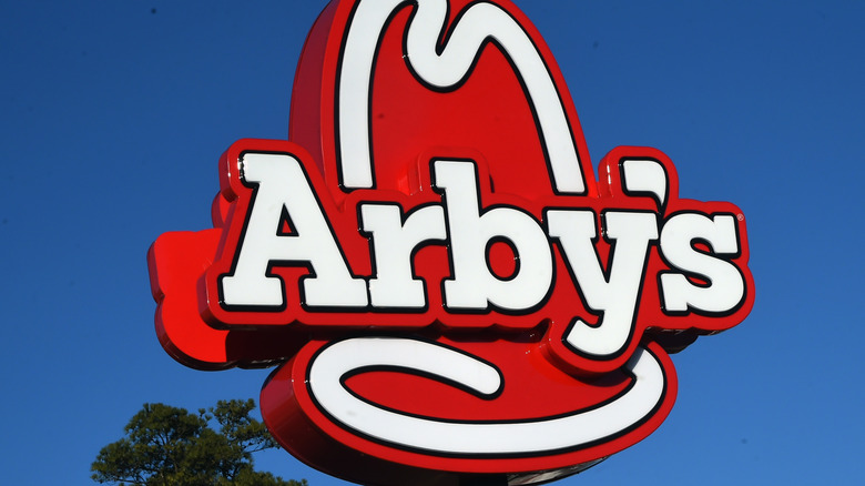 Close-up of Arby's sign
