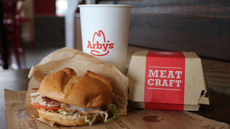 Arby's drink and sandwich