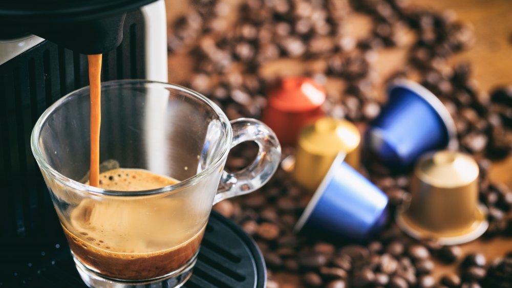 Coffee pod machine brewing espresso