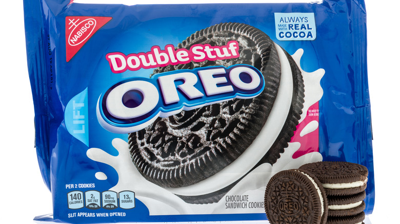 Package of Double Stuf Oreos with stack of Oreos in front