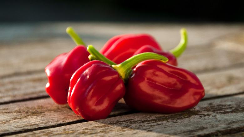 Habanero peppers on table