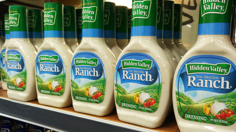 A shelf lined with Hidden Valley Ranch