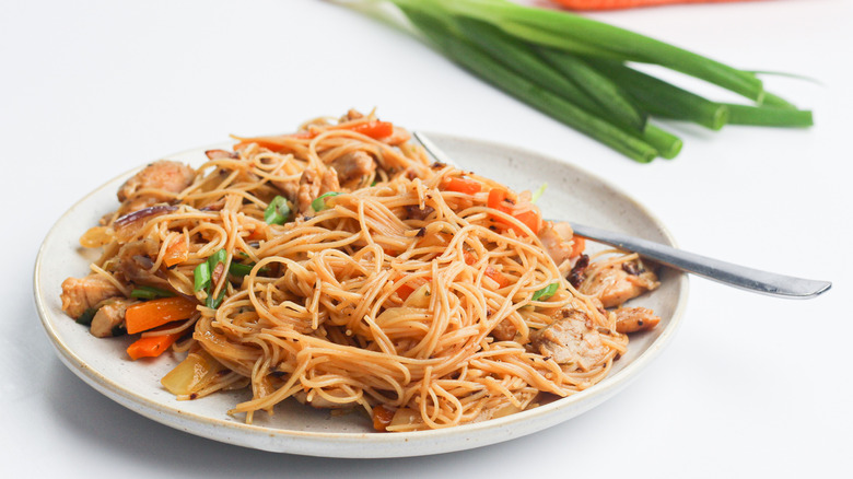 Authentic pancit bihon with a fork