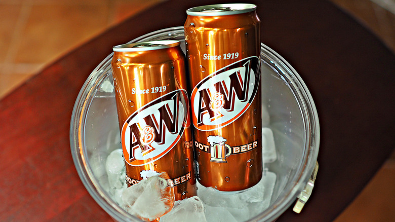 A&W root beer cans