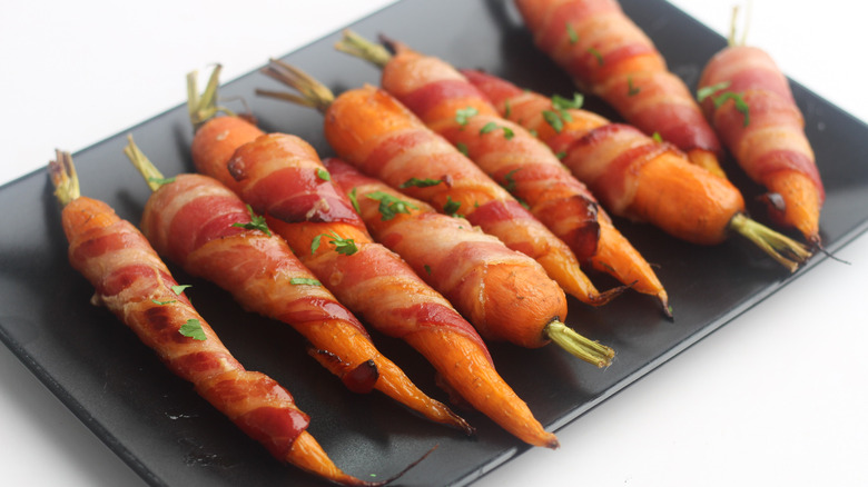 bacon-wrapped, maple-flavored carrots