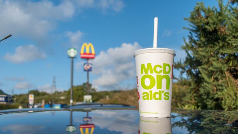 McDonald's milkshake on car