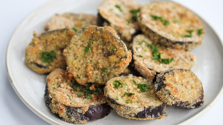 Baked breaded eggplant on a plate