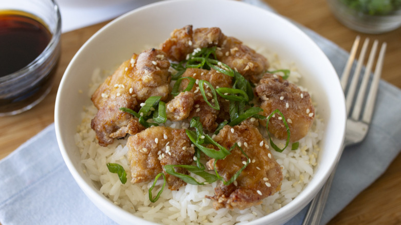 baked mochiko chicken with rice