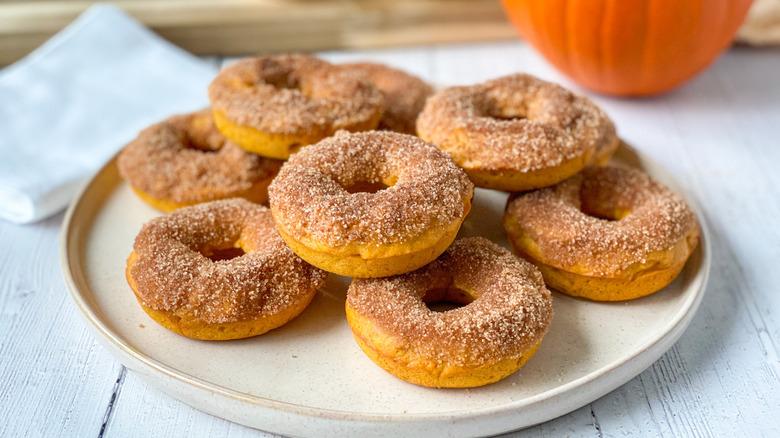 pumpkin donuts on a plate
