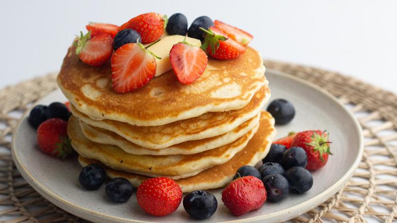 Basic homemade pancakes on plate