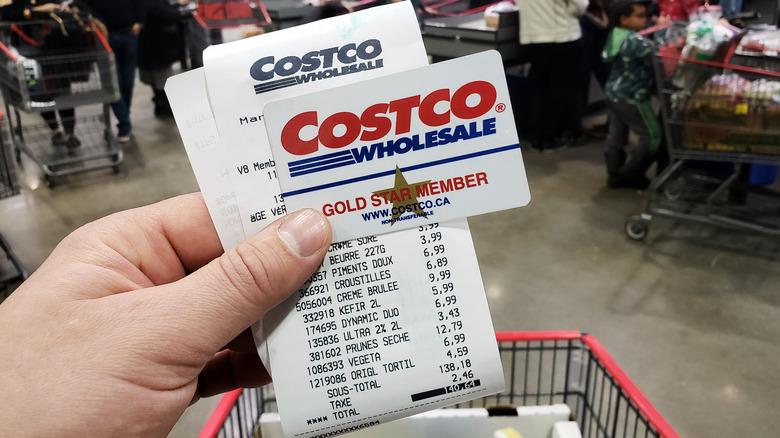 Costco membership card and receipt