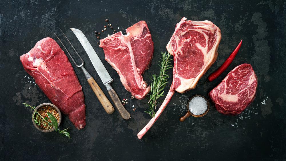 raw cuts of beef