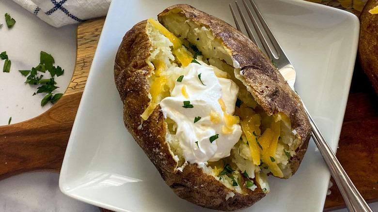 air fryer potato on plate