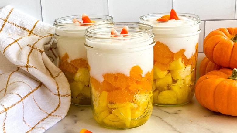 candy corn parfait jars