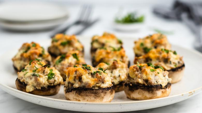 sausage and cream cheese stuffed mushrooms