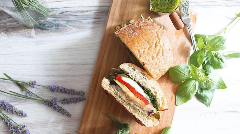 grilled veggie sandwich on tray