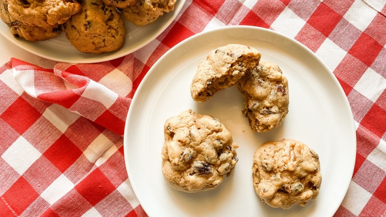 hermit cookies on checkered tablecloth