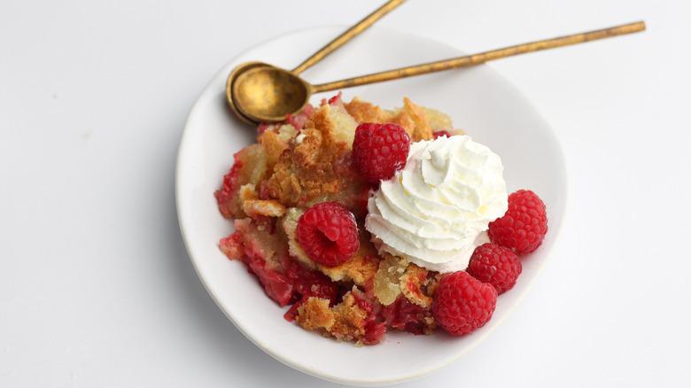 raspberry cobbler on a plate