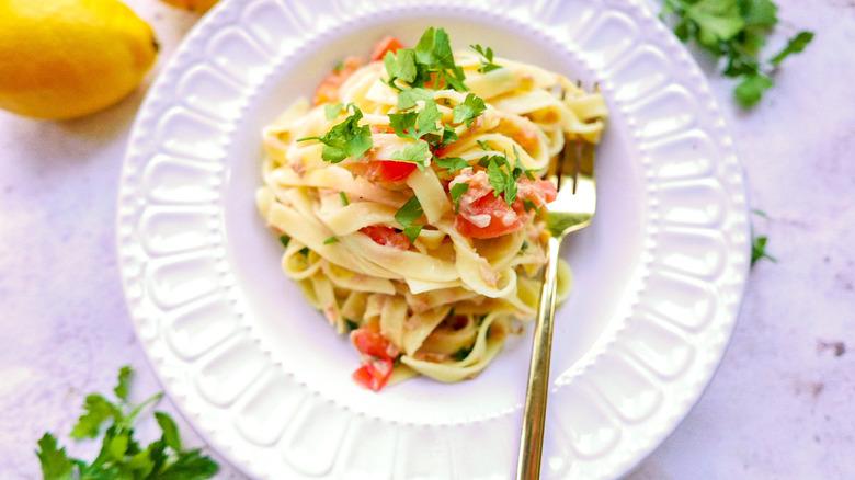 plate of tuna chili pasta