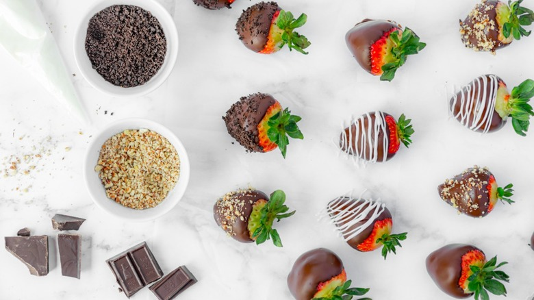chocolate-covered strawberries with decorative toppings