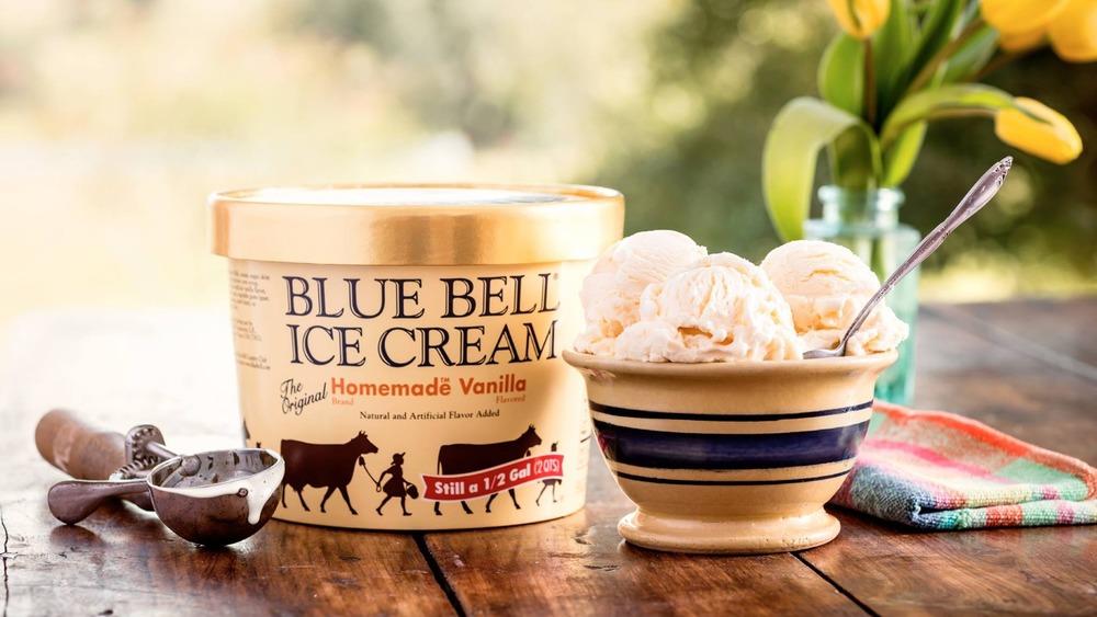 carton and bowl of Blue Bell's homemade vanilla ice cream