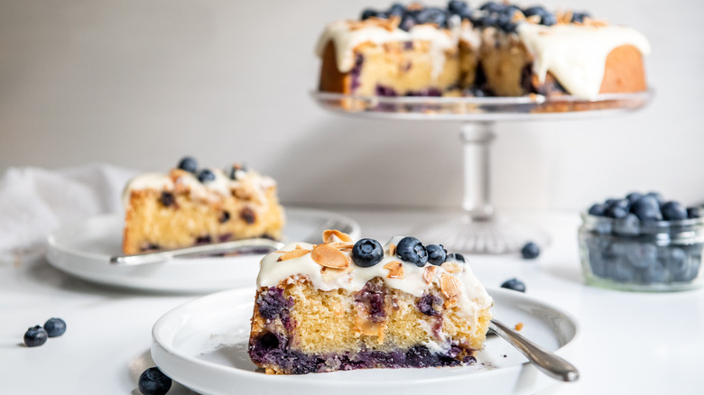 Blueberry Amaretto Cake Recipe on a serving tray