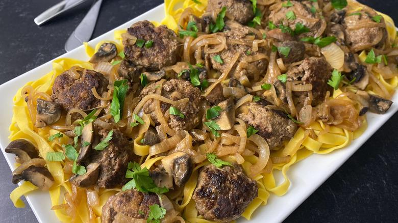 Salisbury steak meatballs over pasta