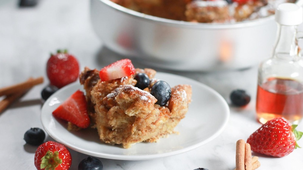 French toast casserole with fresh fruit on a plate