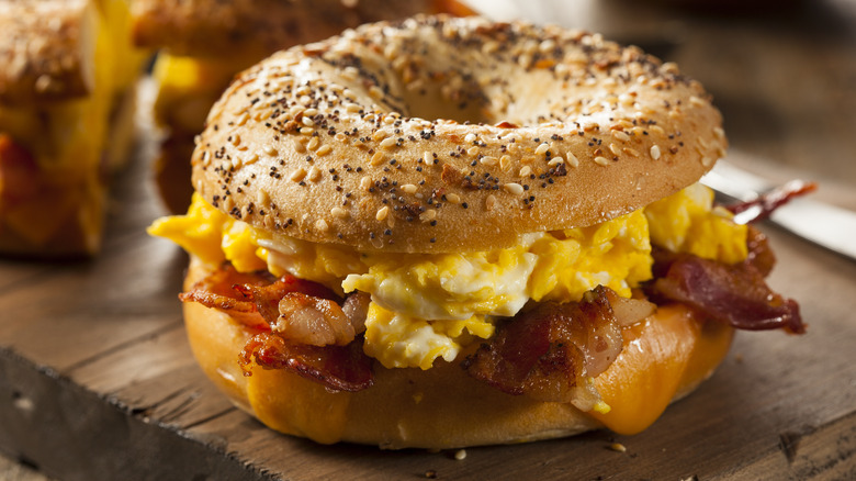 bacon, egg, and cheese on a bagel