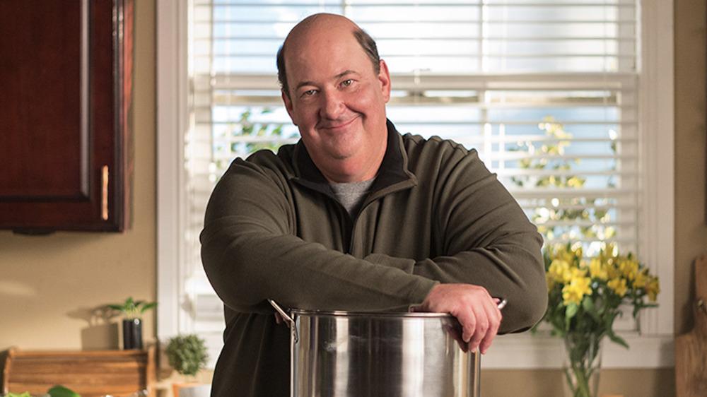 Brian Baumgartner smiling with chili pot