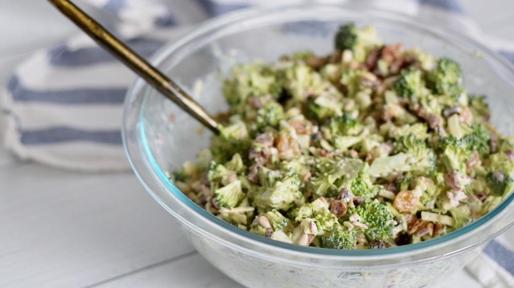 broccoli salad in glass bowl