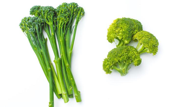 Broccolini, left, and broccoli, right