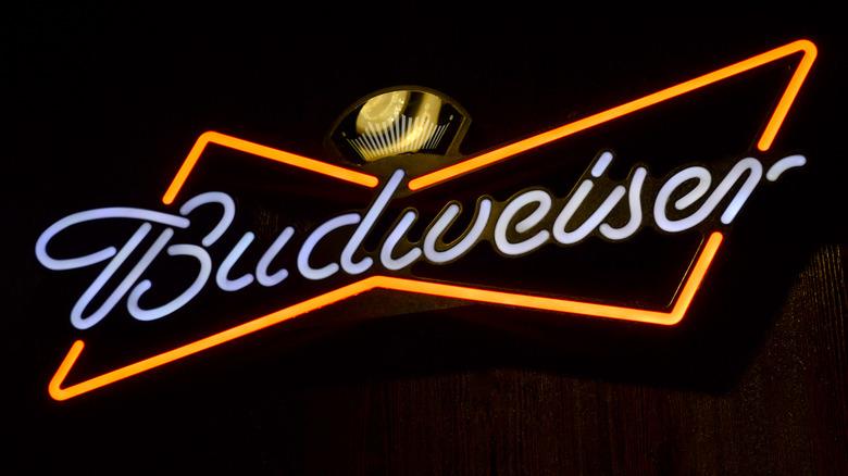 A Budweiser beer sign