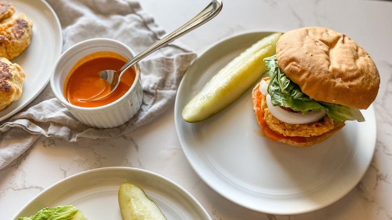 Buffalo chicken burger with pickle