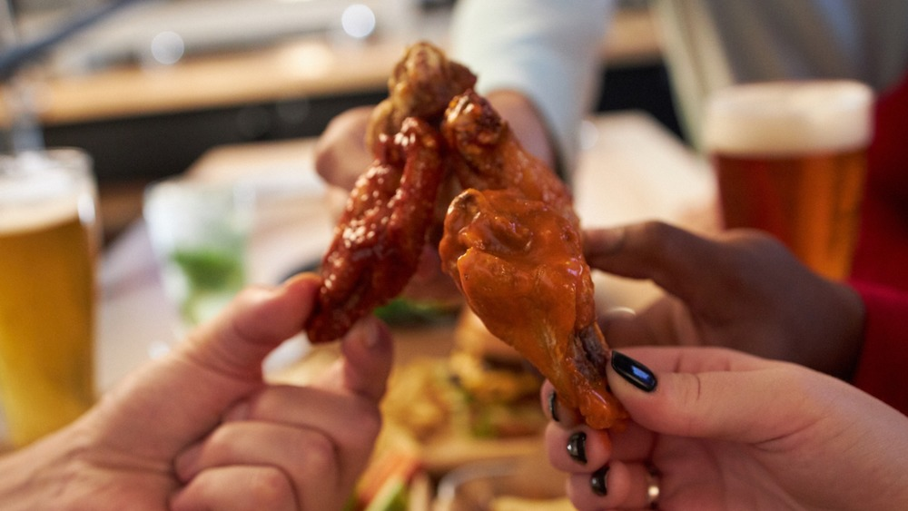 Wings with Truffalo sauce on plate