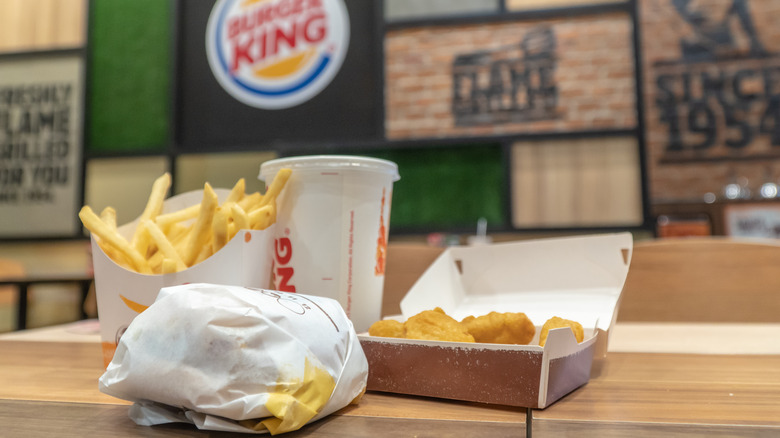 Burger King restaurant with meal on table