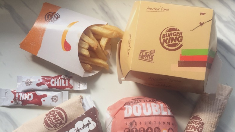 Burger King meal with fries and burgers