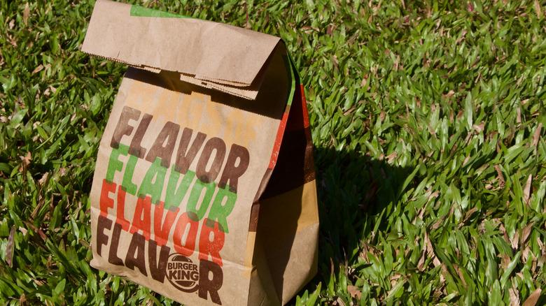 Burger King bag on grass